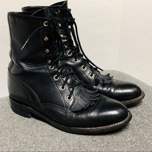 Justin Black Leather Lace Up Combat Moto Boot 6.5